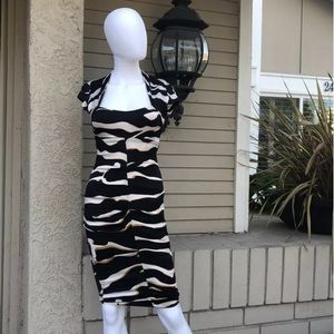 CACHE Black & Beige cap sleeve Open back DressSz4
